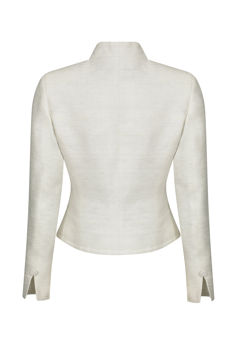 Ivory raw silk jacket - Margo