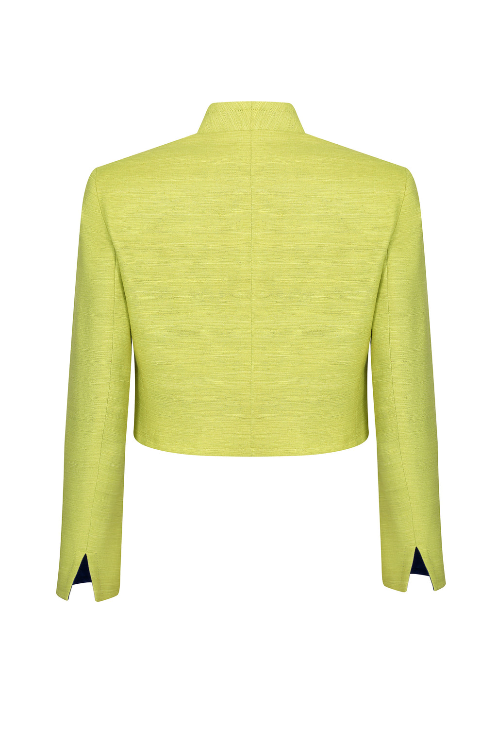 Waist-length jacket in lime and sapphire raw silk - Hermione