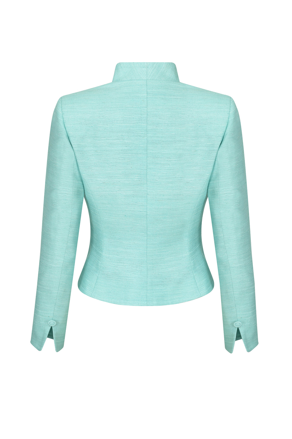 Waisted Edge-to-Edge Jacket in Plain Raw Silk in Aqua - Margo