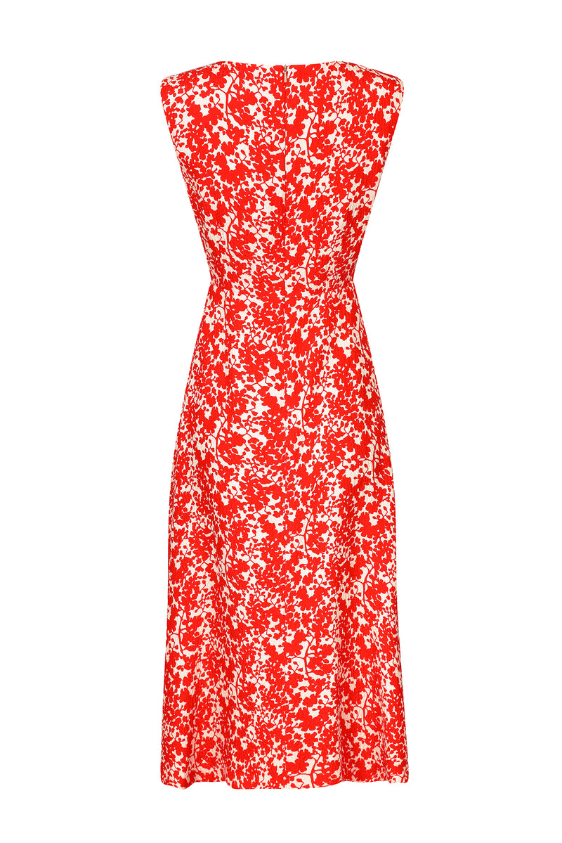 Midi flowy print silk dress in poppy and ivory - Letty