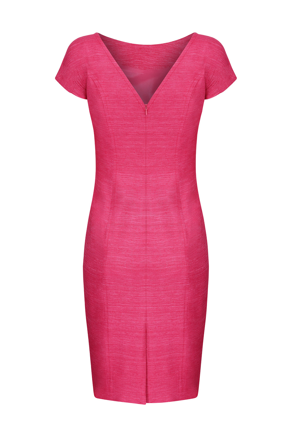 Plain silk shift dress with cap sleeves in fuchsia - Jess