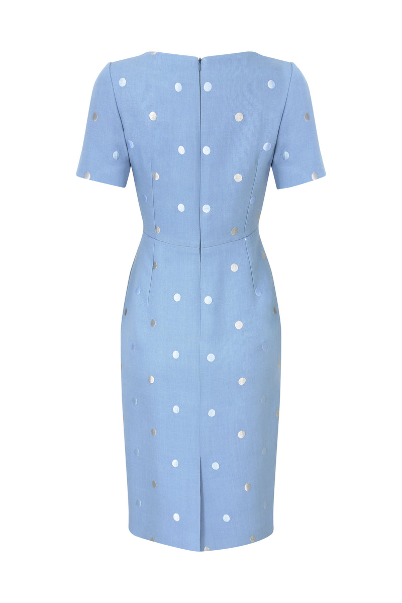 Shift Dress in Ocean Blue Faille with Embroidered Dots - Angie