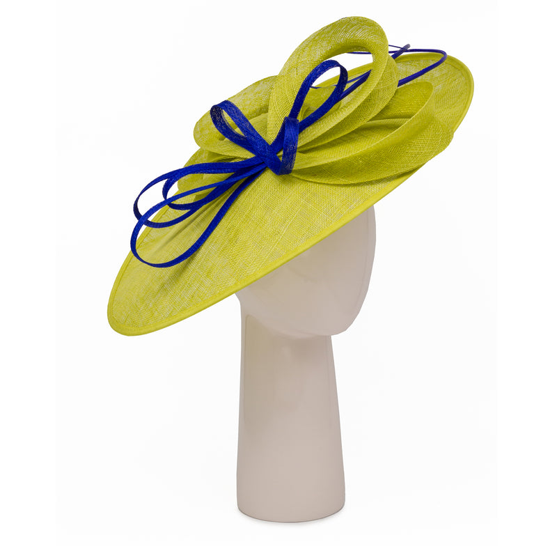 Teardrop Disc Hat with Sinamay Swirls in Lime and Sapphire