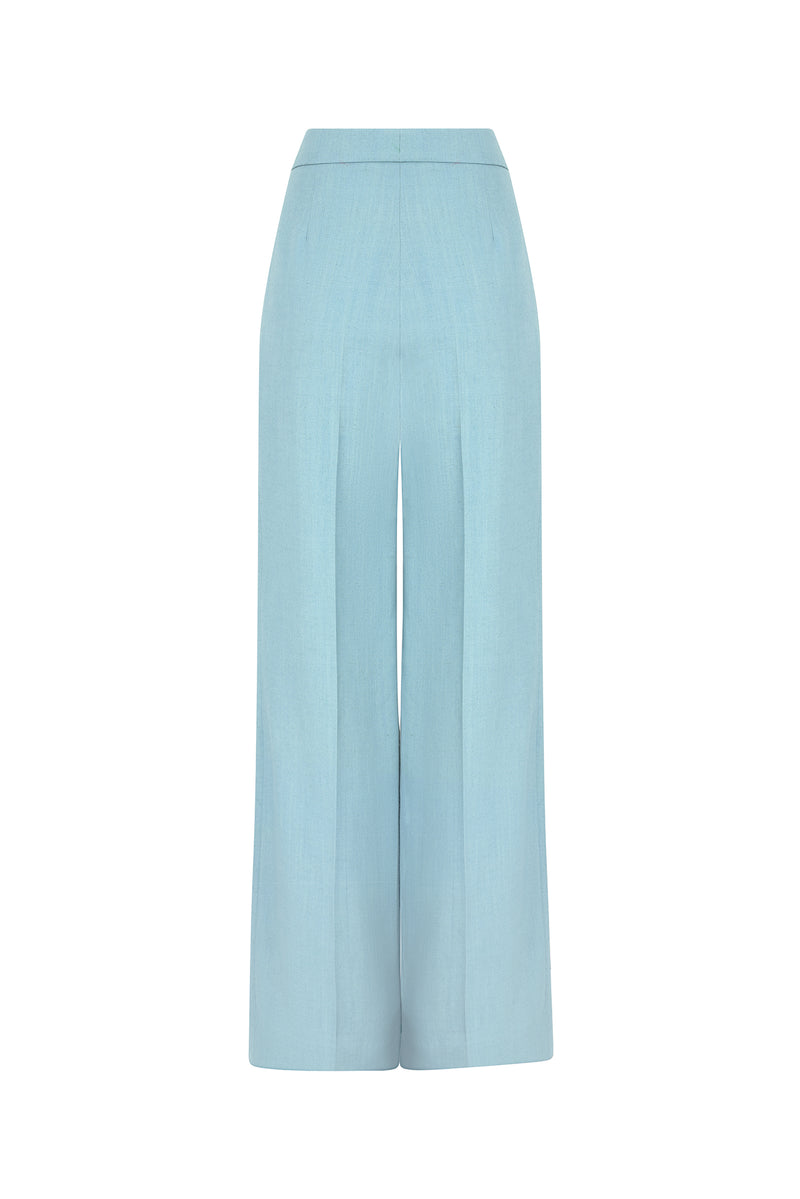 Wide leg trousers with pleats in sea-green linen-mix - Portia