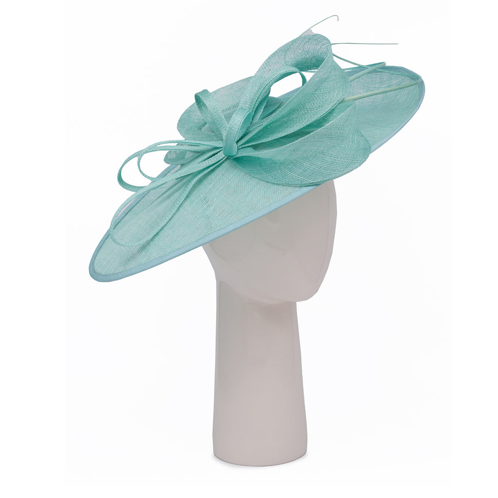 Teardrop Disc Hat with Sinamay Swirls in Sea Green