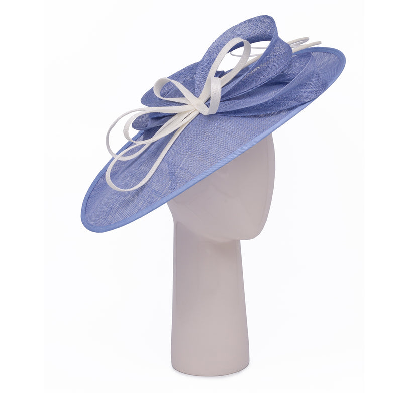 Teardrop Disc Hat with Sinamay Swirls in Ocean and Ivory