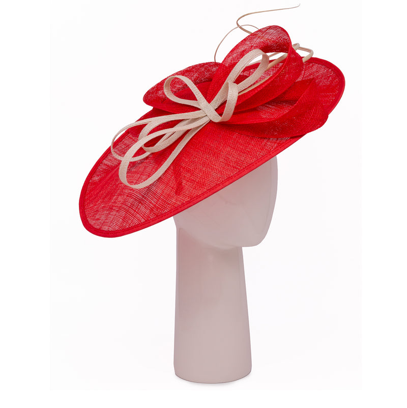 Teardrop Disc Hat with Sinamay Swirls in Poppy and Champagne