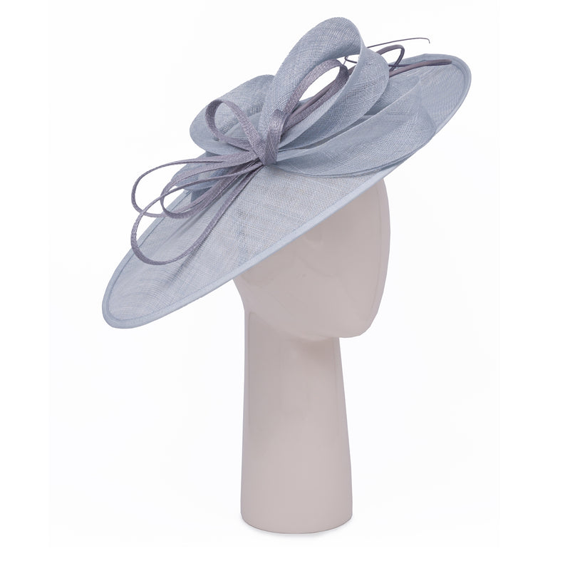 Teardrop Disc Hat with Sinamay Swirls in Sky and Pale Grey