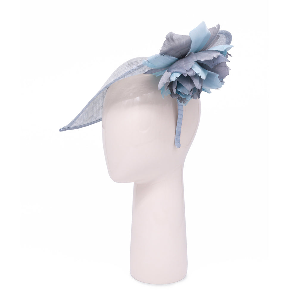 Heart shaped head-piece with feather flower under brim in Sky and Grey