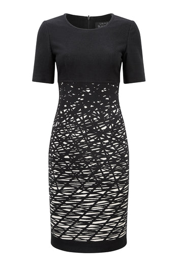Dress in Black and Cream Graphic Jacquard - Toyah