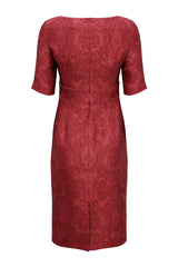 Carnelian Silk Brocade Dress with Sleeves - Annie