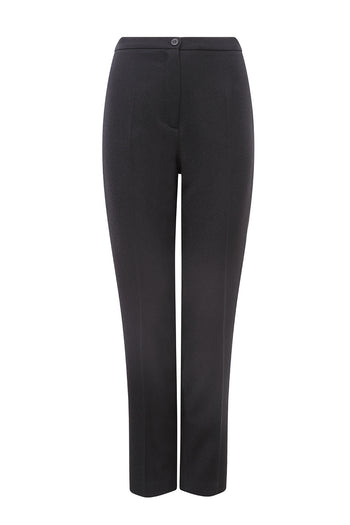 Narrow Leg Trousers in Black Wool Crepe- Cigarette