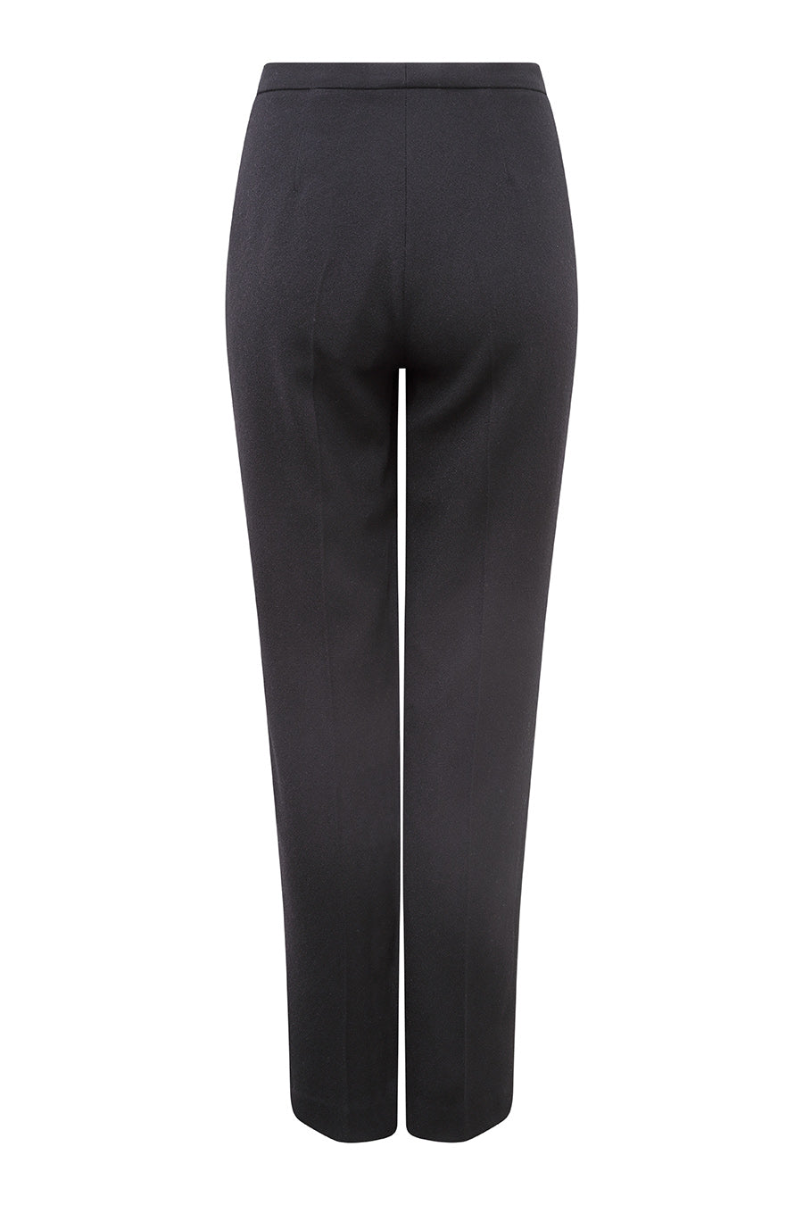 Narrow Leg Cigarette Trousers in Black Wool Crepe