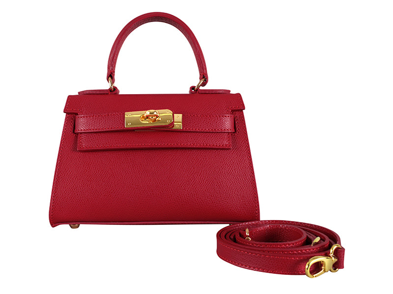 Manon Mignon Palmellato Leather Handbag - Red With Strap