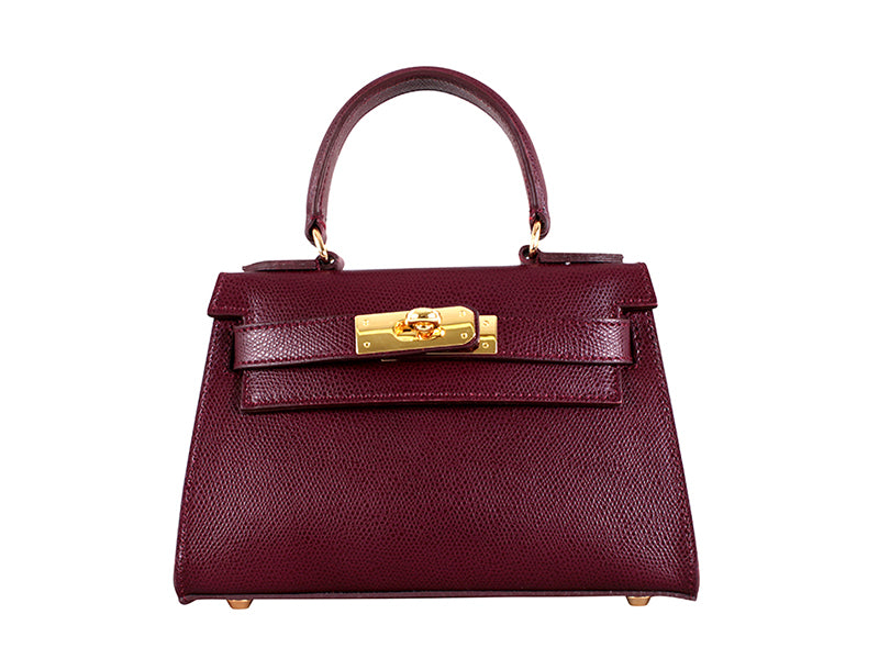 Manon Mignon Palmellato Leather Handbag - Wine