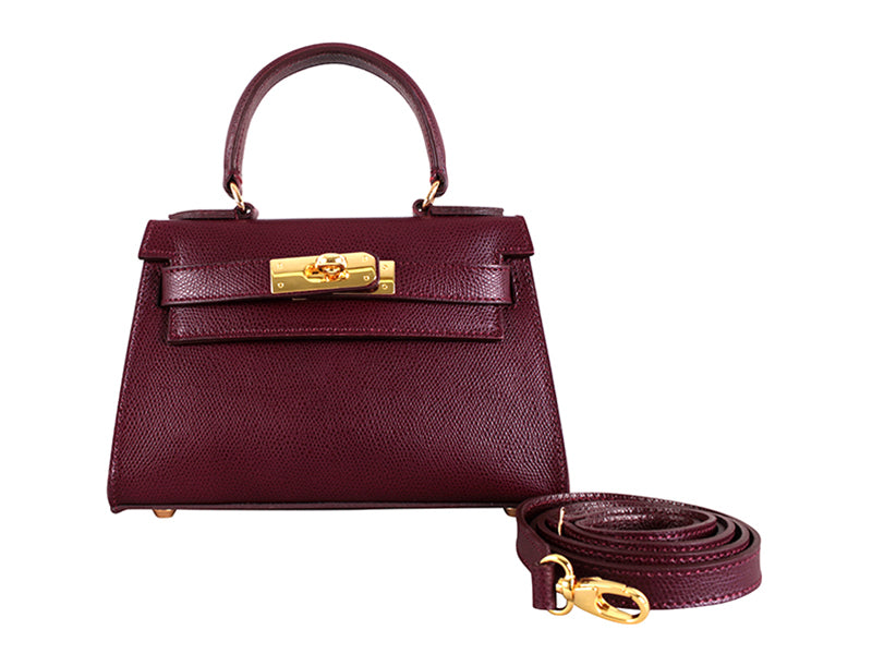 Manon Mignon Palmellato Leather Handbag - Wine With Strap