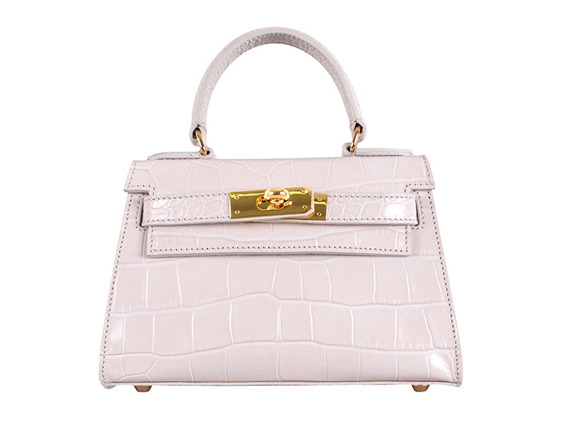Manon Mignon 'Croc Print' Leather Handbag  - Ivory