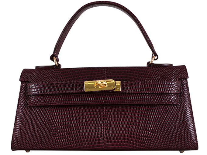 Manon East West 'Lizard' Print Leather Handbag - Wine