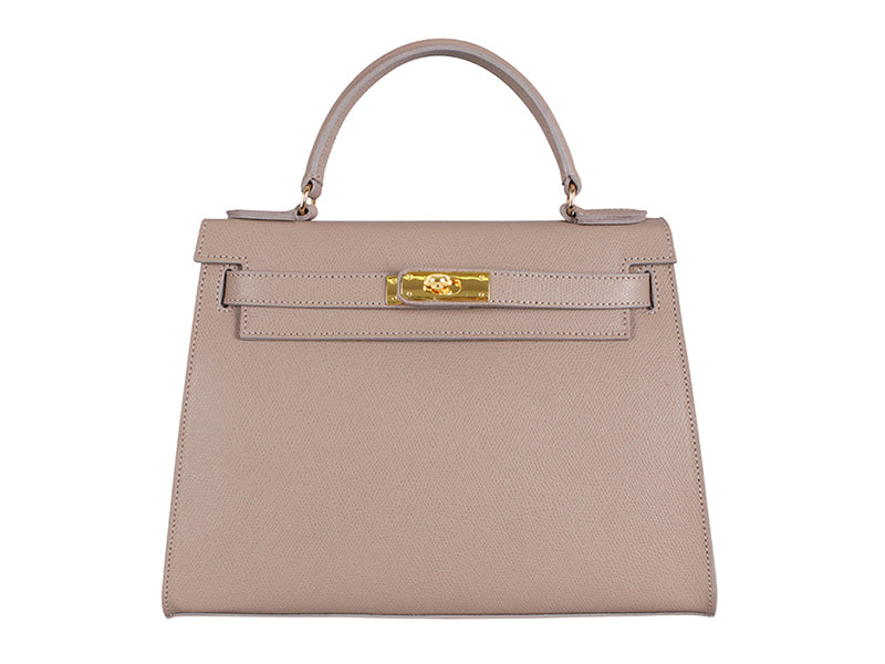 Manon Large Palmellato Leather Handbag - Taupe