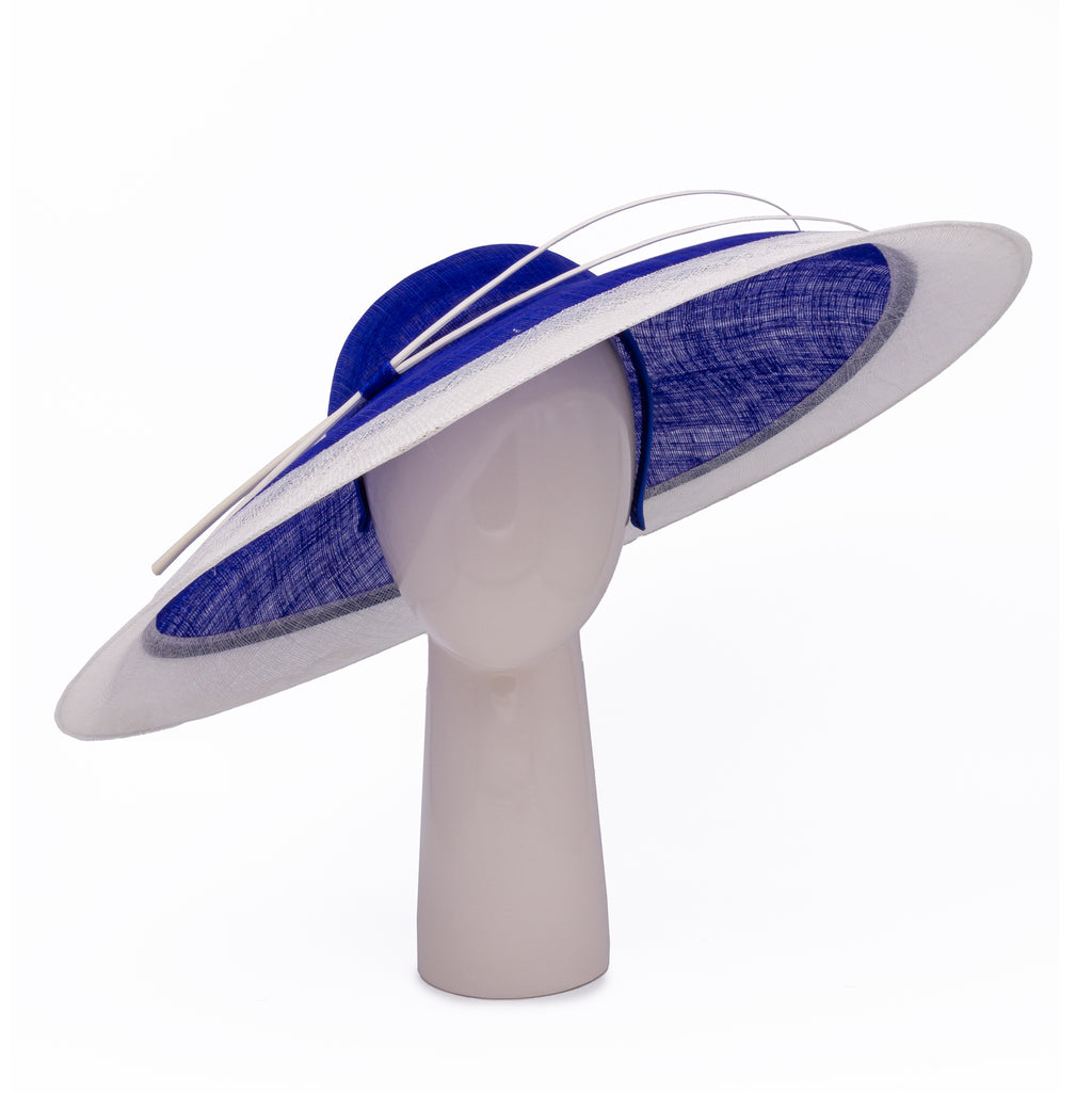Two-tone Wide Rim Hat in Sapphire and Ivory