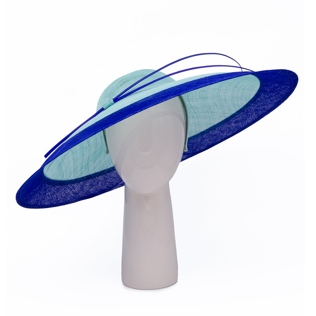 Two-tone Wide Rim Hat in Aqua and Sapphire