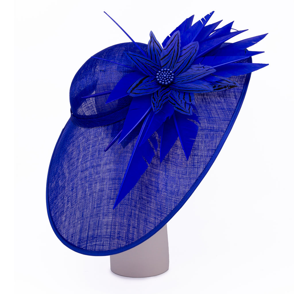 Oval Dish Hat with Feather and Bead Trim in Sapphire