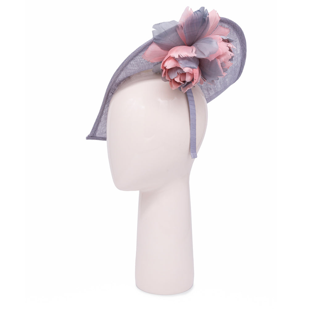 Heart shaped head-piece with feather flower under brim in Pale Grey and Pale Pink