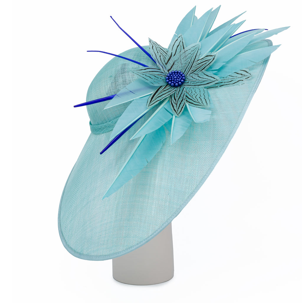 Oval Dish Hat with Feather and Bead Trim in Aqua and Sapphire