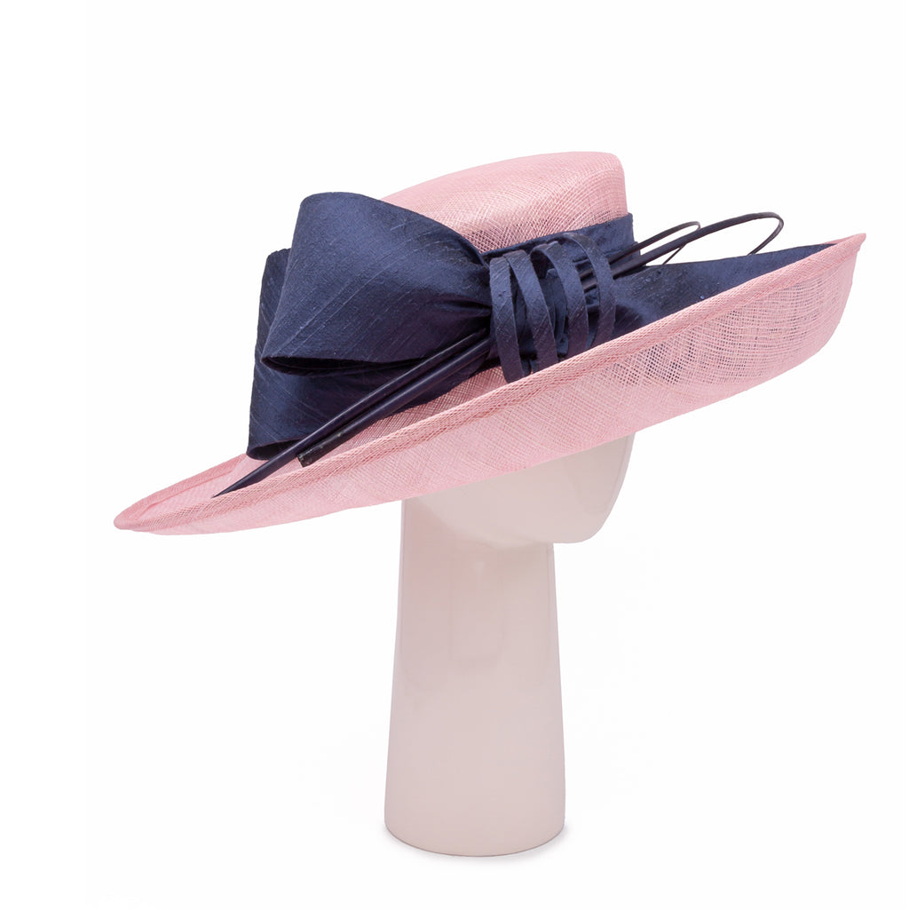 Up Brim Hat with Silk Bow in Candy and Slate