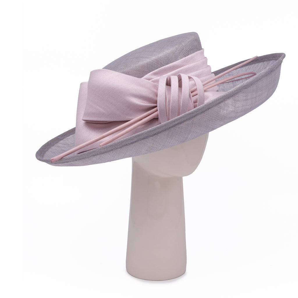 Up Brim Hat with Silk Bow - Grey and Pale Pink
