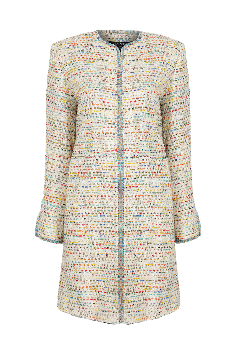 Long jacket in summer tweed in cream with multi colours going through - Iona
