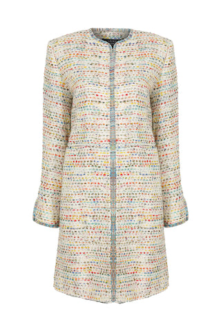 Aqua and Sea Green French Tweed Short Jacket - Carrie