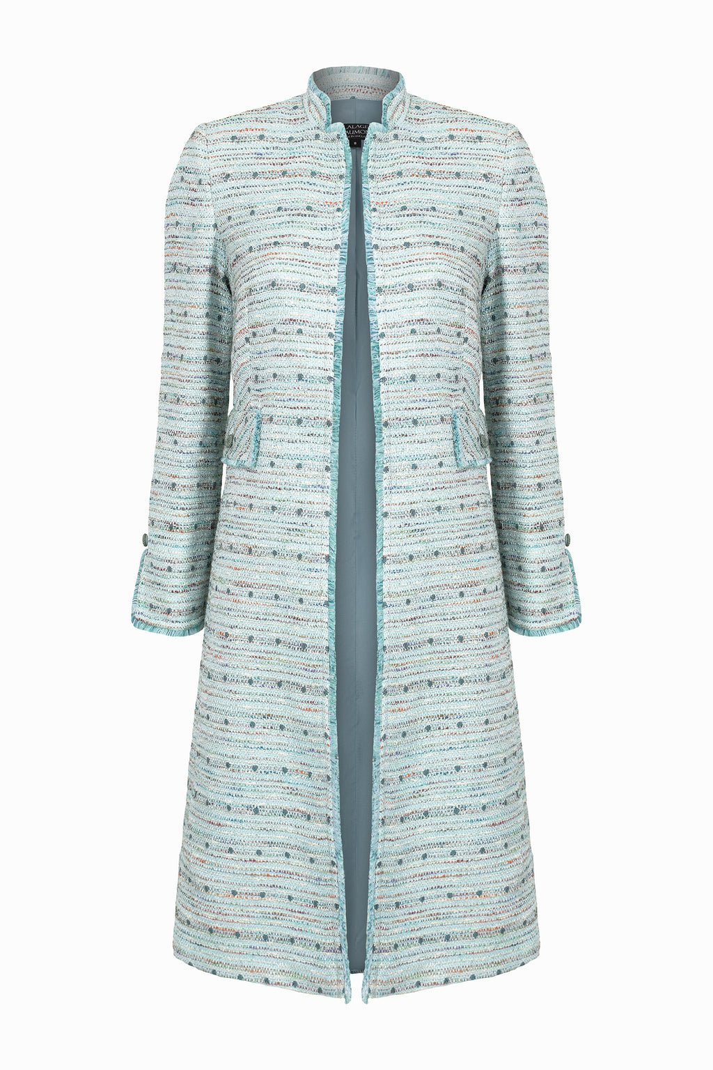 Aqua And Sea Green Tweed Coat with Beautiful Back Detailing - Claire