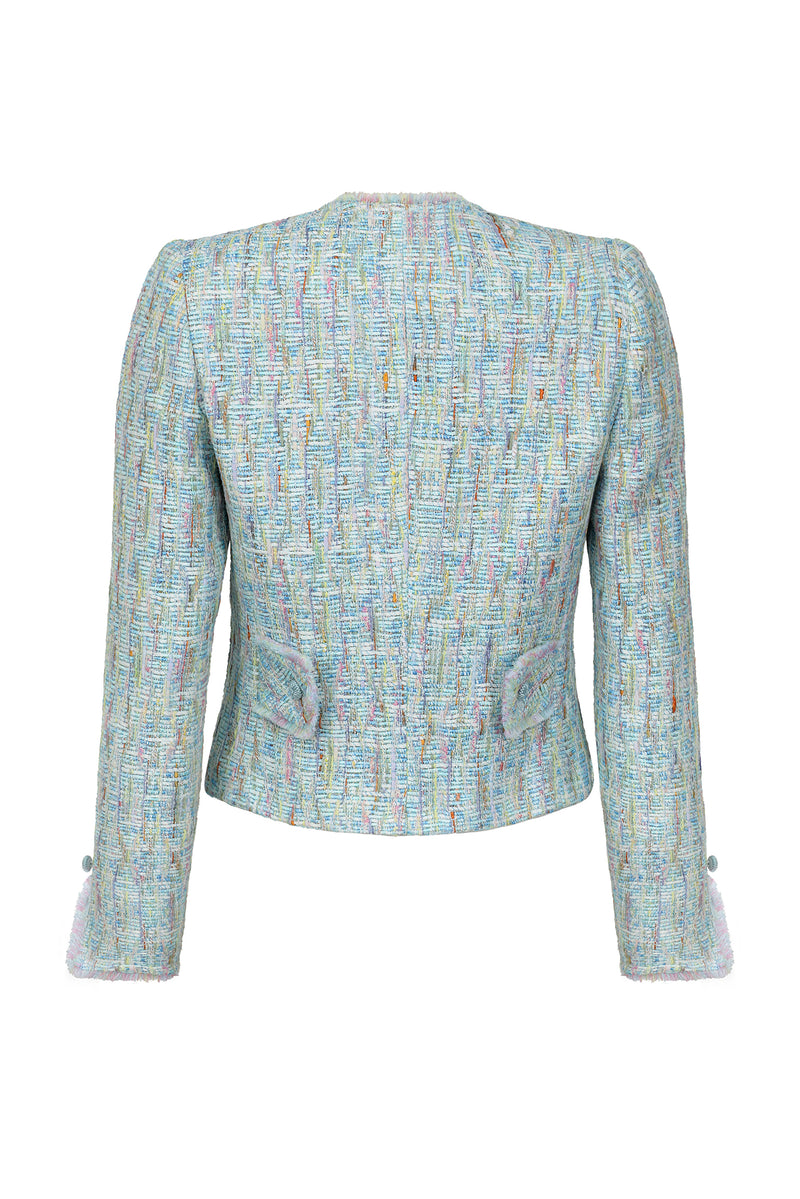 Summer Tweed Jacket in Shades of Aqua and Pink - Carrie