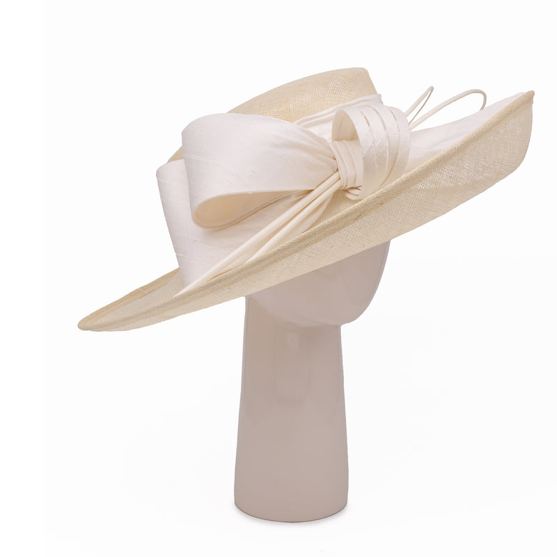 Up Brim Hat with Silk Bow - Ivory