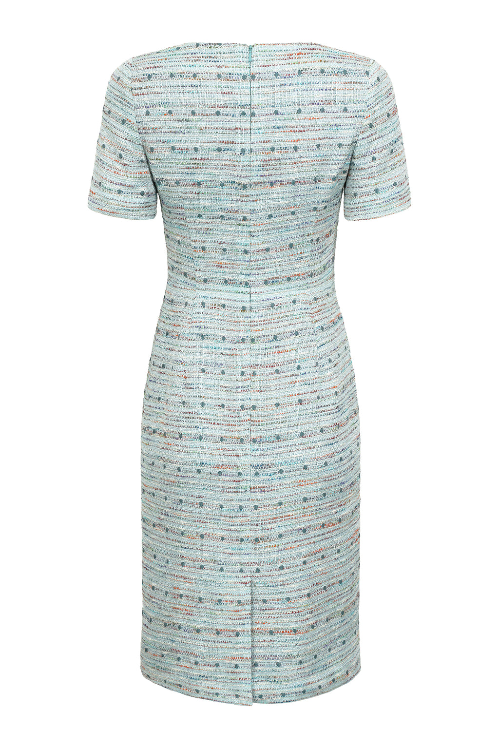 Light-weight French Tweed Dress in Aqua and Sea Green - Angie