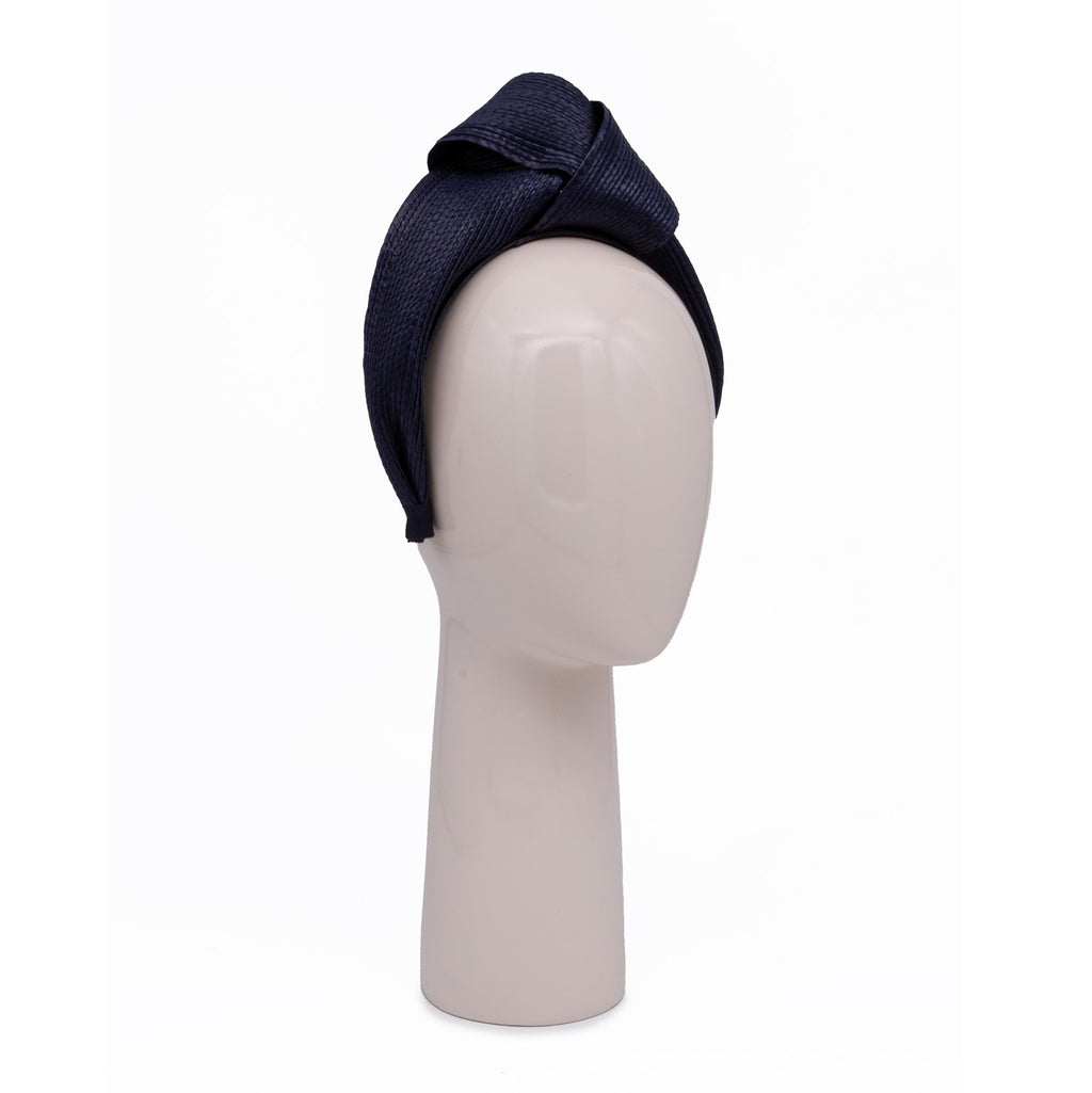 Woven Knotted Hair Band in Navy