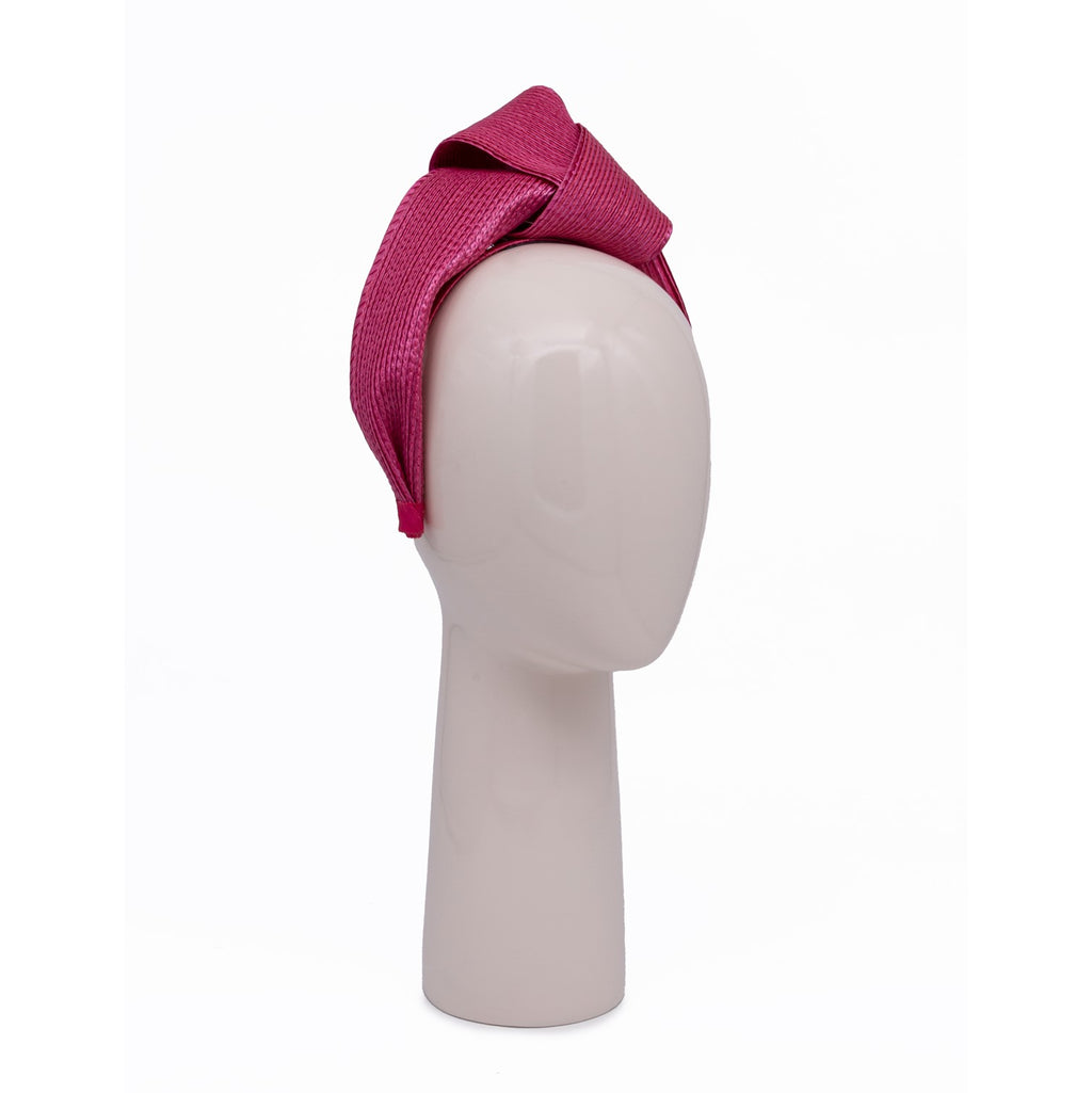 Woven Knotted Hair Band in Fuchsia
