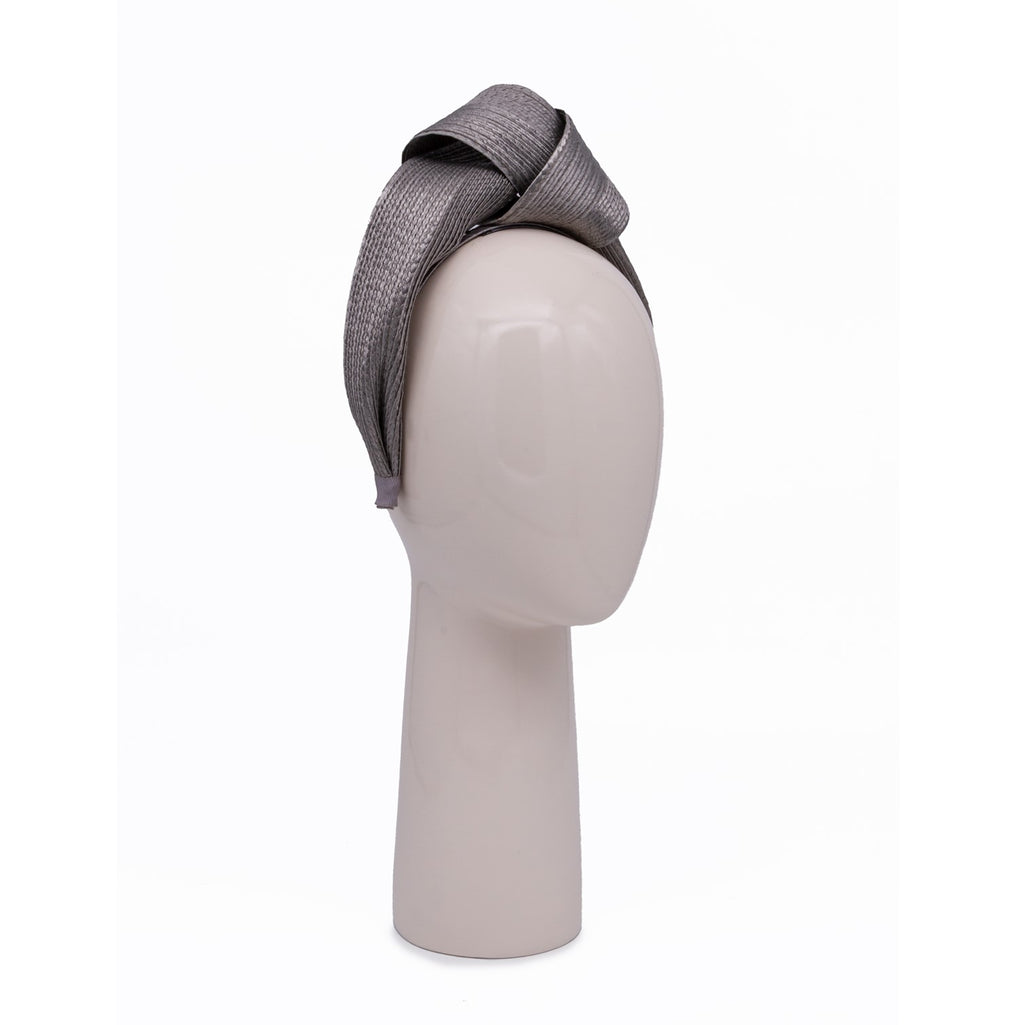 Woven Knotted Hair Band in Grey