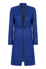 sapphire blue dress coat for weddings and events
