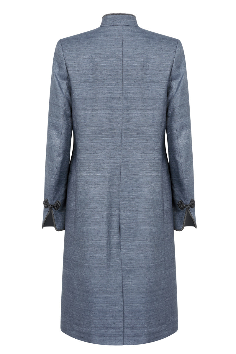 Slate Plain Raw Silk Coat  - Vicky