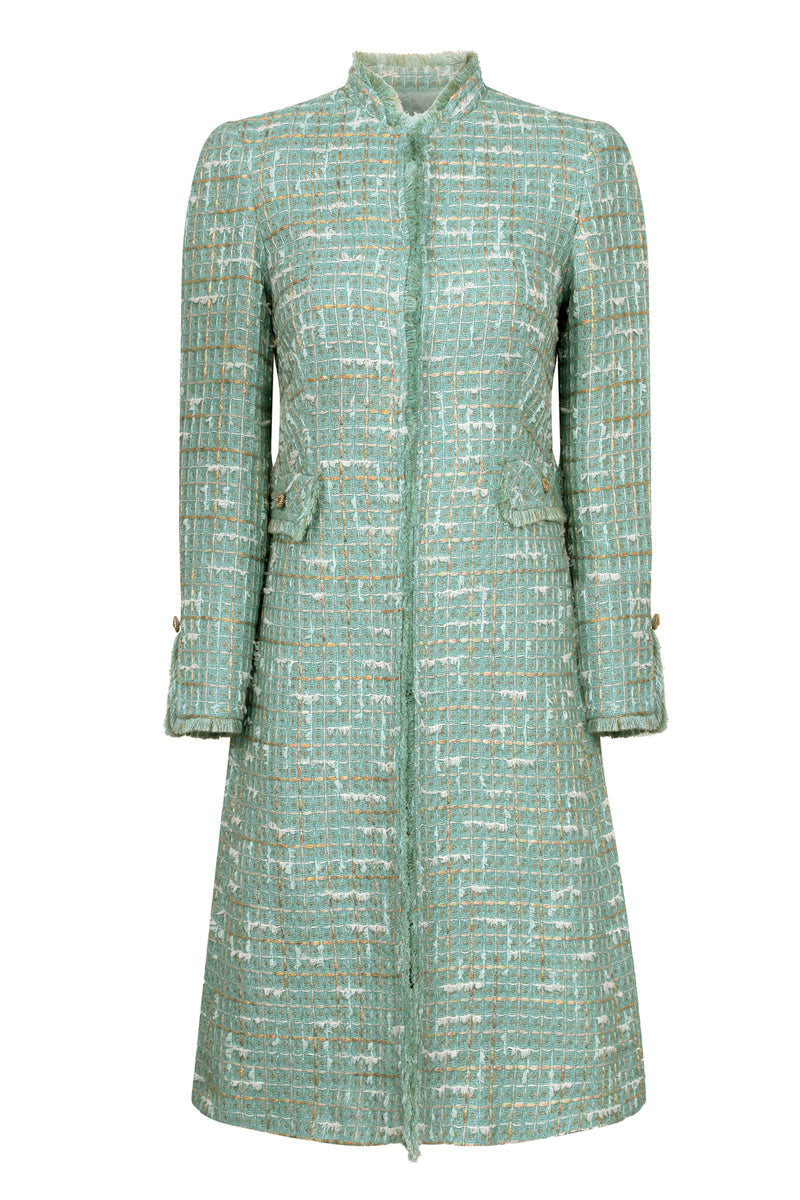 green knee length tweed jacket for mother of the bride