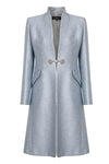 Ocean blue trapeze shaped dress with sleeves in wool-mix faille - Tina