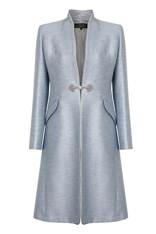 Silk duster coat in aqua with sapphire blue facings  - Leila