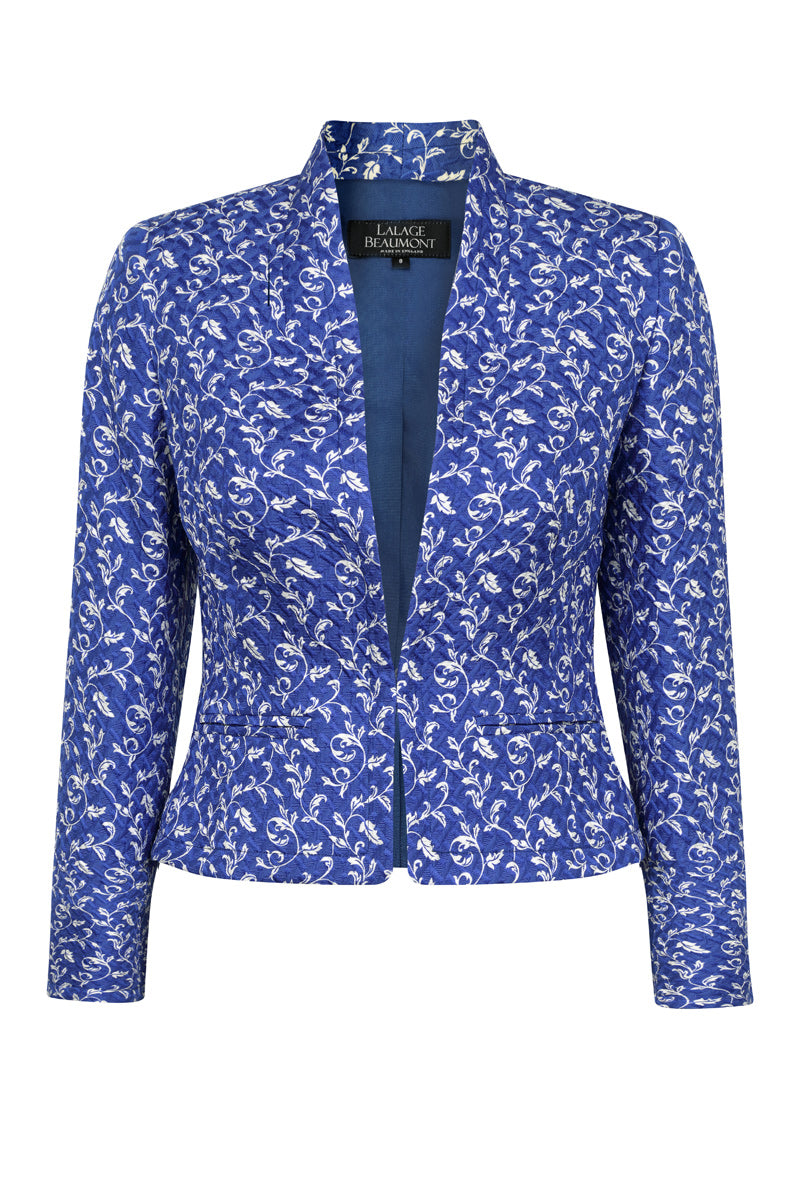 TEST PRODUCT JACKET VERTICAL Sapphire/Ivory print jacket in Matelassé - Margo