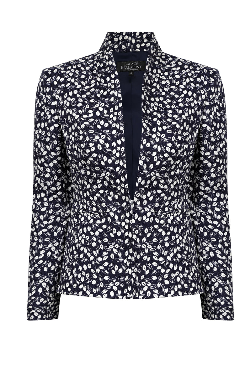 Ivory print matelasse jacket for work