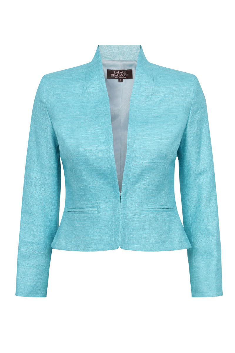 Turquoise Plain Raw Silk Jacket - Margo