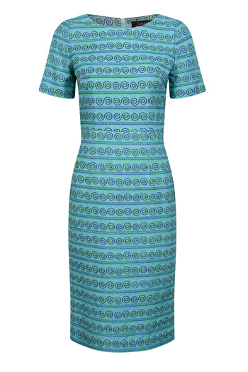 Turquoise raw silk dress for mothers of the bride