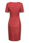 Scarlet embroidered Stripes/Swirls silk dress -  Angie