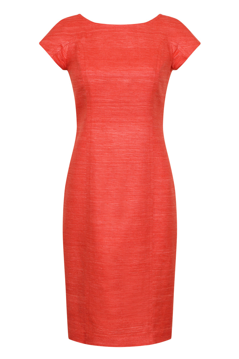 Scarlet Plain Raw Silk shift dress with cap sleeves and V back - Jess
